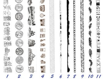 Black and White Tape, Retro, Alphabet, Coin, House, Castle, Stationery