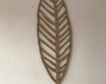 Wooden laser cut large leaf wall art