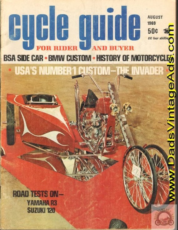 1969 August Cycle Guide Motorcycle Magazine Back-Issue #6908cg