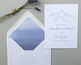 Mountain Save the Date Cards - Mountain Wedding Invitation Suite - Blue and White Wedding - Save the Date - Printed