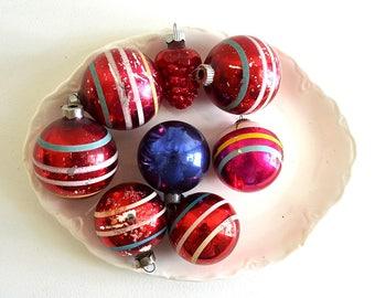 vintage Christmas glass ornaments ball ornaments holiday decor mixed lot christmas tree ornaments