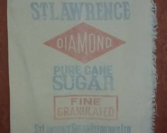 Vintage cotton St. Lawrence Diamond pure cane sugar St. Lawrence Sugar Refineries Ltd. Montreal Canada sugar bag/sack
