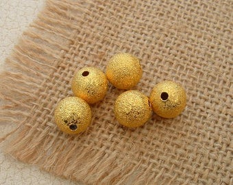 set of 10 STARDUST beads 8 mm Golden Metal Depolies