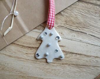 Hanging white fir - 6 cm - Christmas decoration - Christmas gift - keepsake Christmas