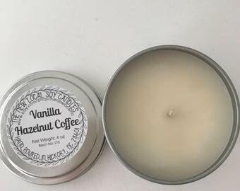 Vanilla Hazelnut Coffee | 4 oz Scented Soy Candle Tin | Travel Tin | Warm + Strong + Coffee + Vanilla + Hazelnut