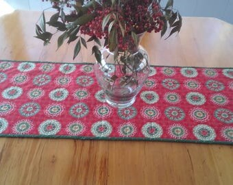 Table runner in holiday prints 37 x14. quilted