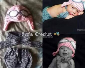 Baby girl pilot crochet costume