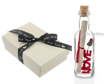 1st Paper Wedding Anniversary Gift PERSONALISED Message in a Bottle with Gift Box | FAST DISPATCH
