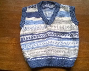 Hand Knitted Blue Childs Tank Top