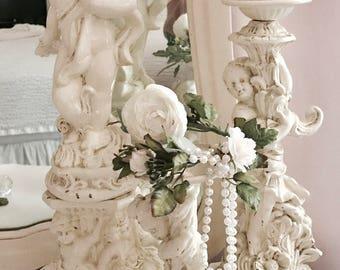 Beautiful Cherub Iron Candle Holders (Set)
