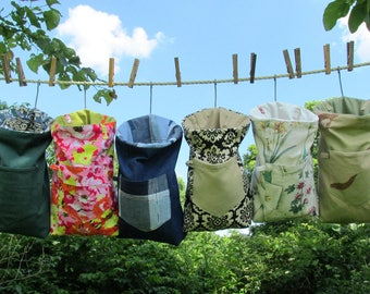 Heavy Duty Granny's Clothespin Bag of new and recycled fabrics, Ready to ship, mom gift, wedding, off-grid homestead laundry, line dry