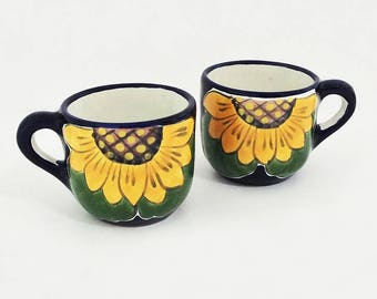 Two Pottery Sunflower Mugs, Vintage Ceramic Cups, Lead Free