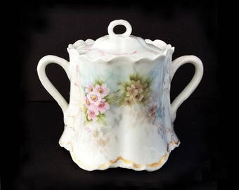 Antique (1888-1896) Haviland Hand Painted Porcelain Sugar Bowl, from Limoges, France