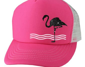 Pink Flamingo Trucker Hat, Boating Hat, Beach Hat, Cruise Hat, Fishing Hat, Snapback Hats For Women (White Vinyl & Black Glitter)