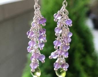 Gorgeous Amethyst & Peridot Chandelier Earring