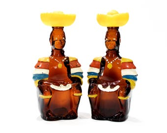 VINTAGE: 2 Trinidad Angostura Bottles - Oak Rum - Limbo Drummer Bottle - Native, Islander, Home Bar, Kitsch, Man Cave - SKU 24-B-00011137