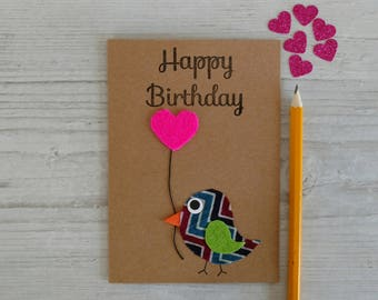 Birthday Card - Happy Birthday Card - Handmade Birthday Card - Bird Card