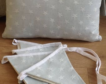 Shabby chic cushion cover in duck egg blue star fabric by Ashley  lovely for a nursery