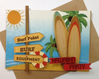 Handmade card, 3D, themed surf of the sea, all occasions