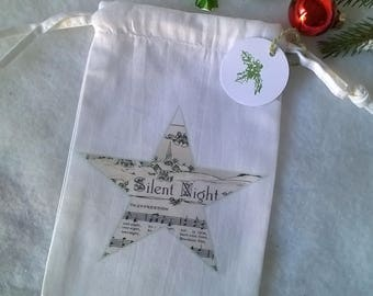 Mini bag fabric Christmas sheet music song of Christmas star