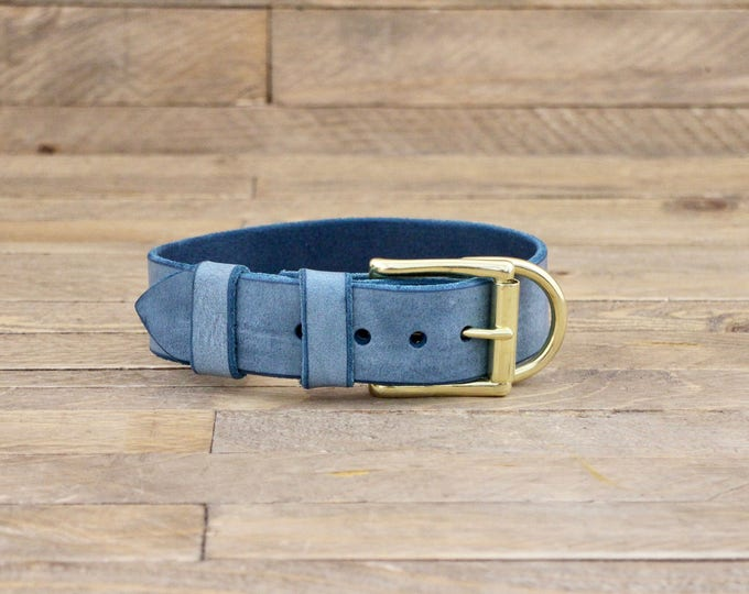 Classic dog collar, Premium dog collar, Dog collar, FREE ID TAG, Customised collar, Cloudy sky collar, Solid brass, Handmade collar.
