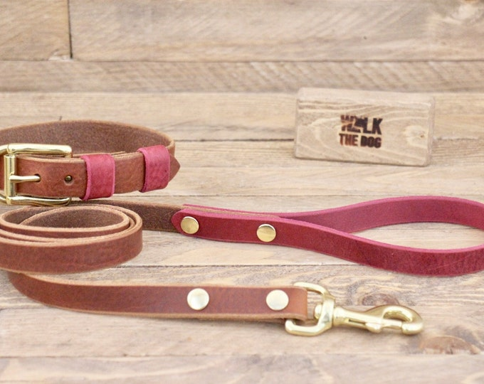 Dog collar, Dog leash, Set,Sale 15%,  FREE ID TAG, Cowboy brown, Burgundy, Brass hardware, Handmade leather collar, Dog collar and leash.