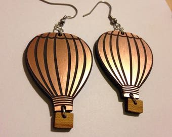 Damn Cute hot air balloon acrylic earrings copper black