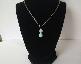 Light Blue Glass Bead Necklace