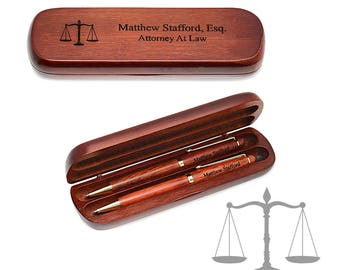 Professional Legal Executive Two Pen Set in Cherry Wood - Wooden Pen Gift Set in Box - Executive Pen Gift Set - Gift for Law Professional