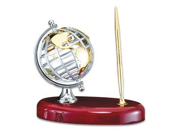 Executive Personalized Steel Globe Pen Stand - Luxury Office Globe and Gold Metal Pen - Executive Engravable Mounted Desk Pen - Gift for Him