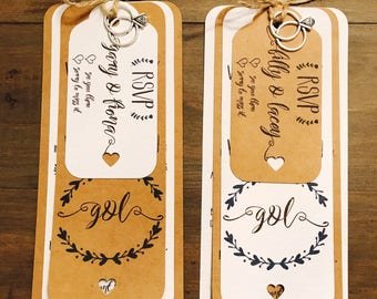 Rustic Day / Evening Wedding Invitations with RSVP Tags and Envelopes Personalised Handmade