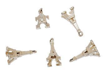 5 Rose Gold Tone Eiffel Tower Charms 19mm x 12mm  (B231i)