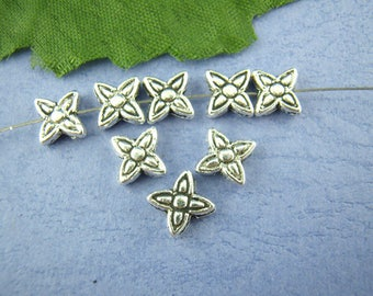 50Pcs Antique Silver Flower Spacer Beads 8x8mm (B247h)