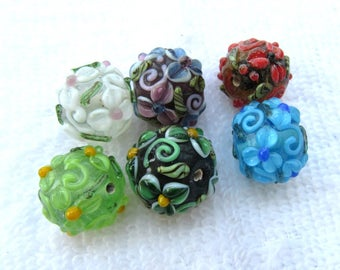 6 Handmade Round Lampwork Glass Beads 18mm (B281a)