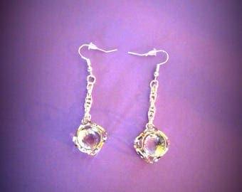 Geometric earrings, square, diamond internal