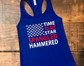 Star Spangled hammered, 4th of july, forth of july, 4th of july tank, womens tank, tank top