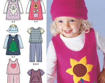Simplicity 1567 Size .5-4 Girl's Toddlers' jumper or top, pants in two lengths, knit top and hat Sewing Pattern  / UNCUT Factory Folded