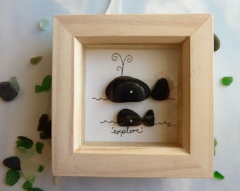 Cornish seaglass art, framed seaglass picture, seaglass whales, Cornish holiday momento, gift for sailor, gift for mum, gift for friend