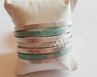 Blue and White Leather Cuff Bracelet