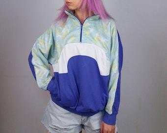 Vintage 80's Retro Oversized 1/4 Zip Sweatshirt / Jumper Colour Block Purple | Size S-M