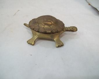 Vintage Brass Turtle Trinket Jewelry Box Solid Brass Free Shipping