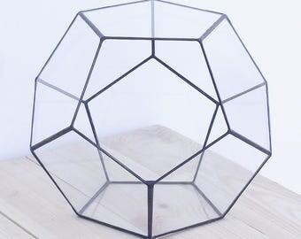 "Terrarium ""Dodecahedron"" Geometric Glass Planter, Flower Pot / Candle Holder"