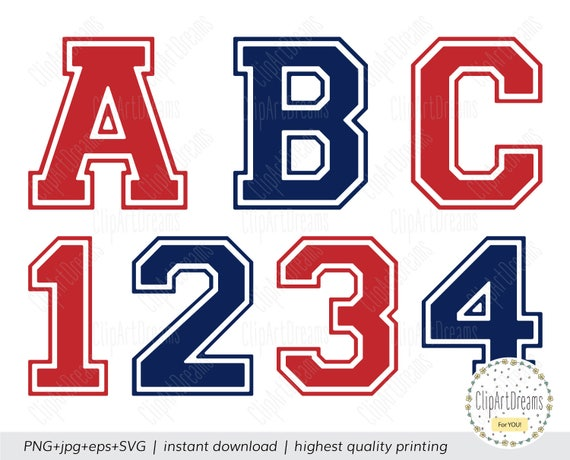 Collegiate Varsity Font SVG Varsity college sports Letters numbers
