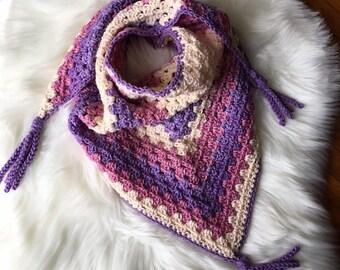Handmade Crochet Trendy Bandanna Triangle Scarf Fashion Accessory Fringe Scarf Fashion Neck warmer wrap scarves Cowl multi color Boho Scarf