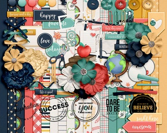 Year in Review- August- Digital Scrapbooking Kit - 20Paper - 60 Plus Elements - Paper Size - 12 x 12 Inches