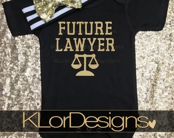 Future Lawyer baby onesie, lawyer onesie, smart baby onesie, baby girl onesie, law school baby