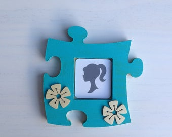 Picture frame wood puzzle turquoise and flowers