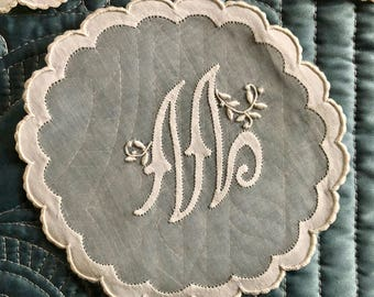 Eight Antique Fine Lace and Embroidery Doilies with the Initial M