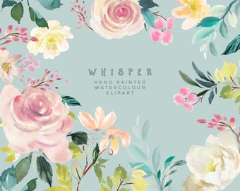 Whisper - Hand Painted Floral Clipart- Watercolor Flowers