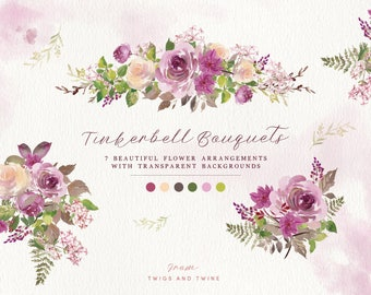 Hand Painted Watercolour Flower Clipart - Tinkerbell Lilac Bouquets